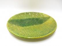 Talíř kulatý, vzor, zelený